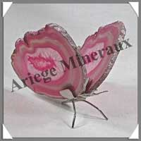 AGATE ROSE - Papillon (Taille 2) - 75x50 mm - 69 grammes - M011